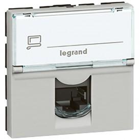 Розетка RJ45 FTP кат.6 2 модуля 90° Legrand Mosaic 079492 алюминий