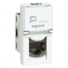 Розетка RJ45 UTP кат.6 1 модуль Legrand Mosaic 076581 белая