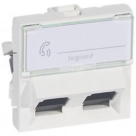 Розетка RJ45 UTP кат.6 2 модуля 45° Legrand Mosaic 076504 белая