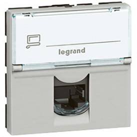 Розетка RJ45 STP кат.6а 2 модуля Legrand Mosaic 079476  алюминий