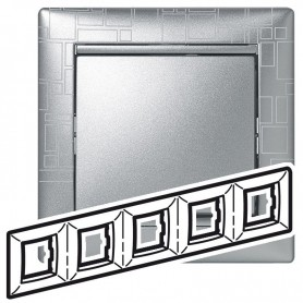770345 Рамка 5 постов, горизонтальная, алюминий модерн, Valena
