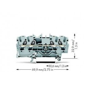 Клемма пружинная 4-х контактная | 2002-1401 | Wago