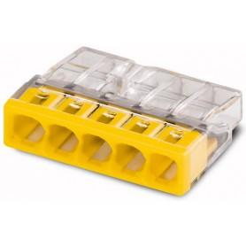 Клемма с пастой 5-проводная 0.5-2.5мм2 одножильный желтый (уп/100шт) | 2273-245 | WAGO