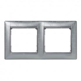 770342 Рамка 2 поста, горизонтальная, алюминий модерн, Valena