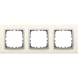 Рамка 3-постовая из декоративного камня (белый мрамор) LK60