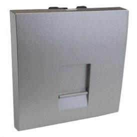 Накладка для розетки телефонной, компьютерной RJ,  45х45 мм (серебристый металлик) LK45 |853201| Экопласт