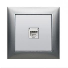 Накладка с суппортом розетки компьютерной   и телефонной на 1 вход (сереб.металлик) БЕЗ разъема LK60