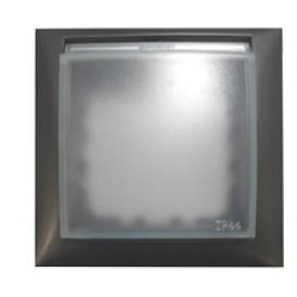Рамка универсальная защитная с крышкой для выключателей и розеток  (сереб. металлик)