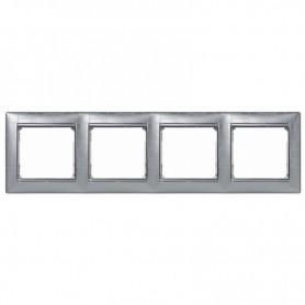 770344 Рамка 4 поста, горизонтальная, алюминий модерн, Valena