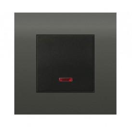Выключатель с индикатором 45х45 мм (схема 1L) 16 A, 250 B (черный бархат) LK45    850908   Экопласт