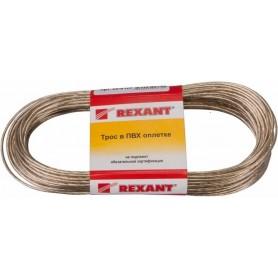 Трос стальной в ПВХ изоляции  d=2.0 мм, моток 20 метров, КРАСНЫЙ  REXANT