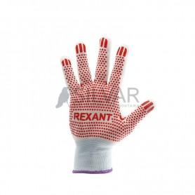 Перчатки х/б белые нейлоновые («Точка» ПВХ) REXANT