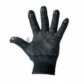 Перчатки полушерстяные с покрытием ПВХ («Зима») черные,  7 нитей,  75-77 г