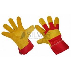 Перчатки спилковые (спилок + х/б ткань),  кожевенный спилок класса АВ; материал подкладки 100 % х/б; цвет желтый,  красный