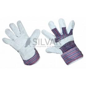 Перчатки спилковые (спилок + х/б ткань),  кожевенный спилок класса АВ,  материал подкладки 100 % х/б