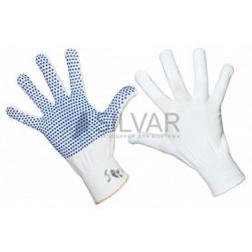 Перчатки нейлоновые с частичным покрытием ладони и пальцев «Точка» ПВХ белые