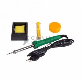 Набор для пайки REXANT №11 (паяльник 30 Вт,  подставка,  губка для удаления припоя,  канифоль,  припой)