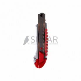 Нож с сегментированным лезвием 25 мм,  металлический обрезиненный корпус,  с дополнительным замком на лезвии REXANT