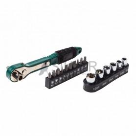 Набор головок и бит с ключом-трещоткой 17 предметов REXANT