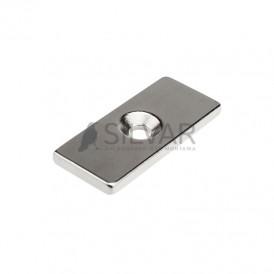 Неодимовый магнитный прямоугольник 35х15х3 мм с зенковкой 8х4 мм (упаковка 1 шт. )