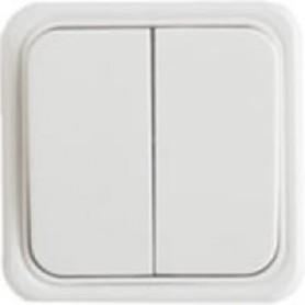 Выключатель двухклавишный открытой установки, схема 5, (белый)