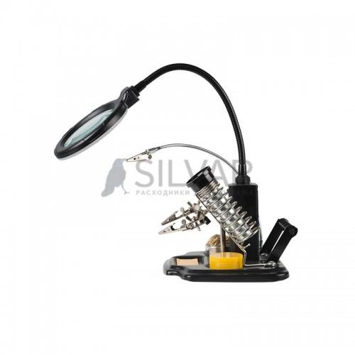 Держатель «Третья рука» ПРОФИ с лупой х3,  подставка под паяльник,  LED подсветка,  стенд для припоя REXANT