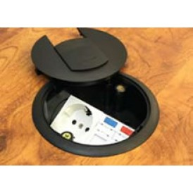 Люк для розеток в пол на 2 модуля (45х45 мм) с суппортом, пластик, черный