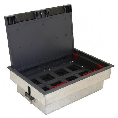 Люк в пол на 8 модулей с суппортом и коробкой , сталь