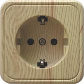Розетка открытой установки с заземляющими контактами и защитными шторками, (сосна)