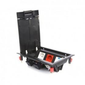 Люк в пол на 6 модулей с суппортом и коробкой , пластик, черный