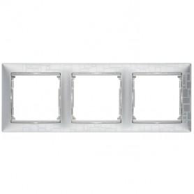 770343 Рамка 3 поста, горизонтальная, алюминий модерн, Valena