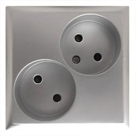 Розетка двойная  без з/к, со шторками (серебристый металлик) LK60