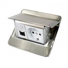 Люк для розеток встраиваемый на 1,5 модуля (45х45 мм) с коробкой, сталь