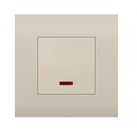 Выключатель  с индикатором 45х45 мм (схема 1L) 16 A, 250 B (бежевый) LK45 | 850901| Экопласт