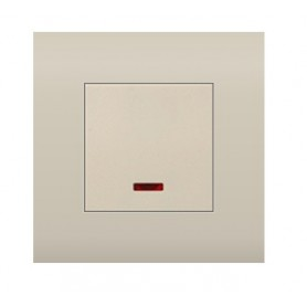 Выключатель  с индикатором 45х45 мм (схема 1L) 16 A, 250 B (бежевый) LK45   850901  Экопласт
