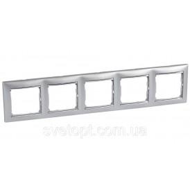 Рамка Legrand Valena 5 постов алюминий/серебряный штрих