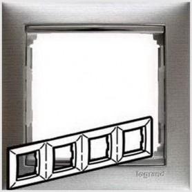 770334 Рамка 4 поста, горизонтальная, алюминий матовый, Valena